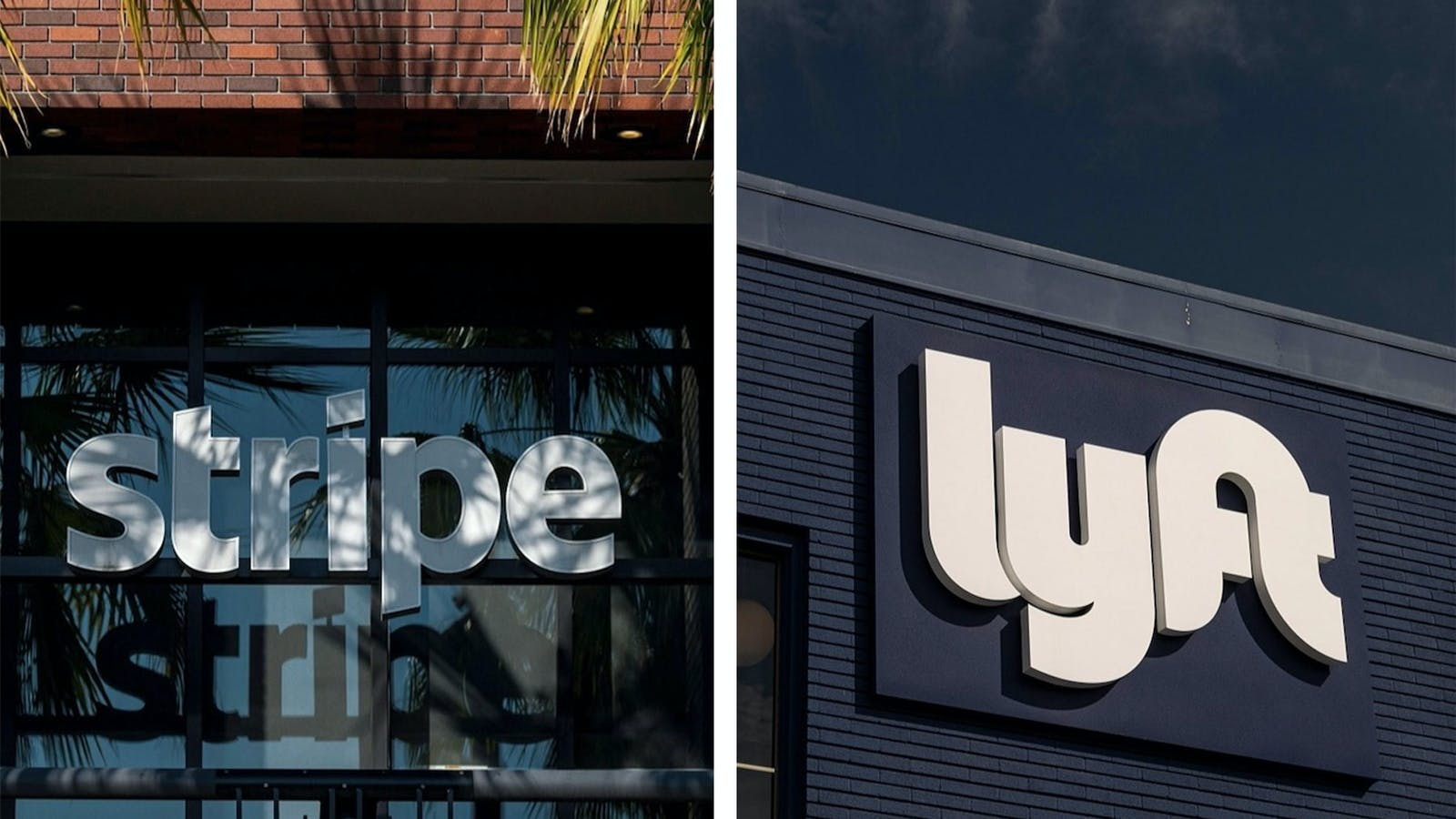 Stripe's offices in San Francisco, left, and a Lyft drivers' lounge in Oakland, Calif. Photos: Bloomberg