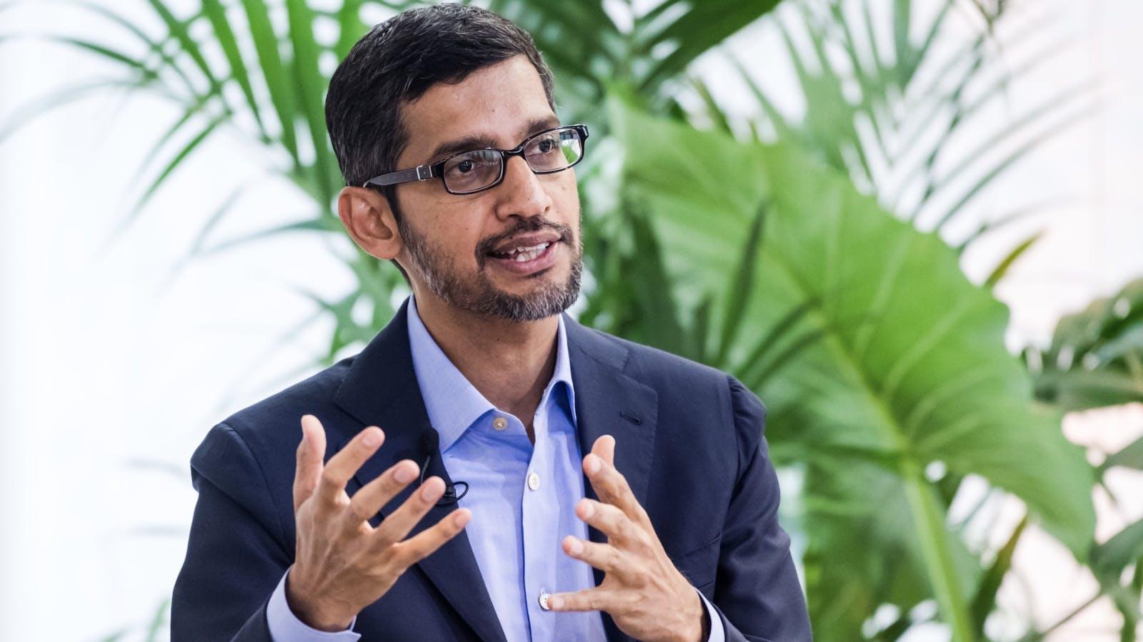 Alphabet and Google chief Sundar Pichai. Photo by Bloomberg