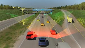 A mock-up of how MicroVision's Lidar sensor for autonomous vehicles works. Picture by MicroVision.