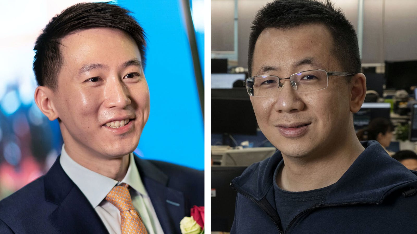 Shouzi Chew, TikTok's new CEO, and Zhang Yiming, CEO and founder of TikTok-owner ByteDance. Photos: Bloomberg