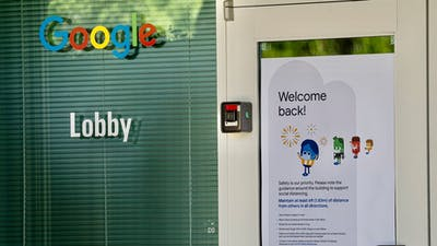 A 'Welcome Back!'sign on a Google building in Mountain View, Calif. Photo: Bloomberg
