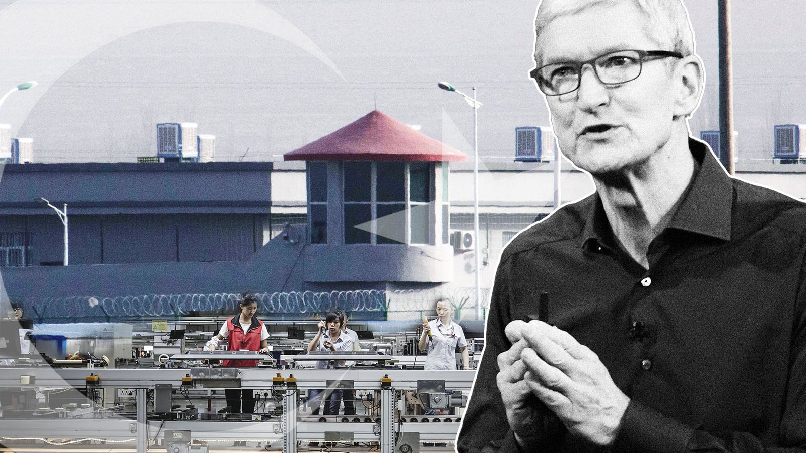 A photo (top left) of a suspected detention center next to Artux Kunshan Industrial Park in Xinjiang, where an Apple supplier operated. Apple CEO Tim Cook (right). Photos by AP; Bloomberg. Collage by Mike Sullivan