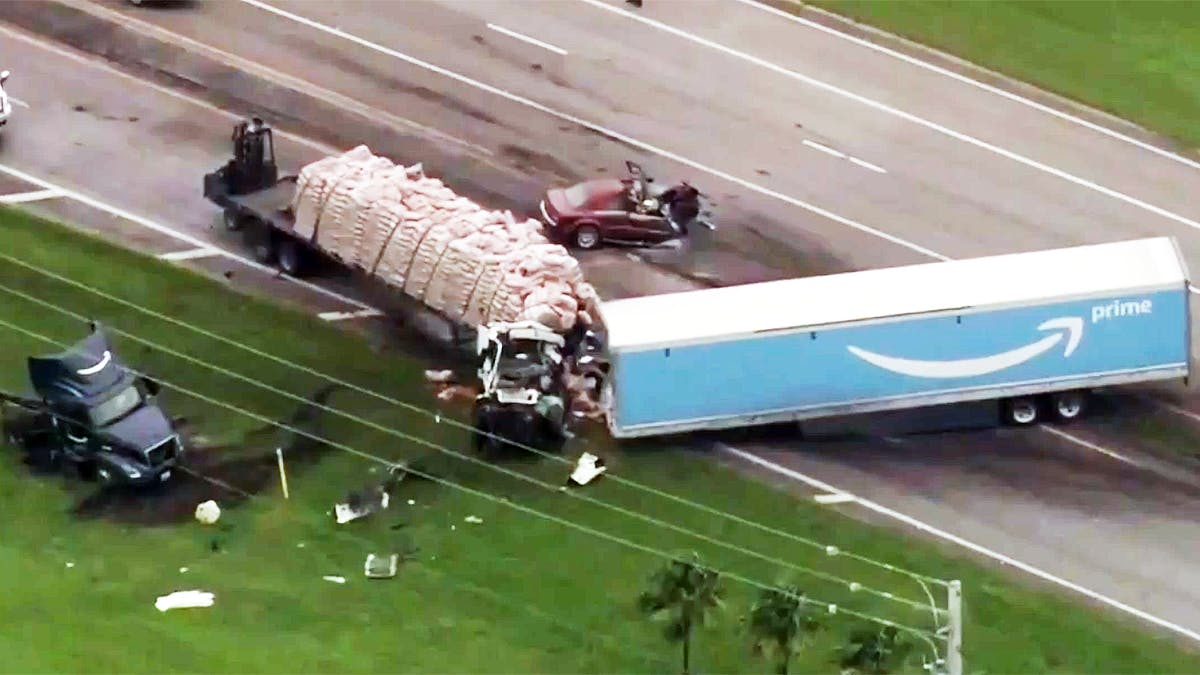 A still image from WPTV news footage of a truck crash last November in Palm Beach County, Fla. Image courtesy of WPTV