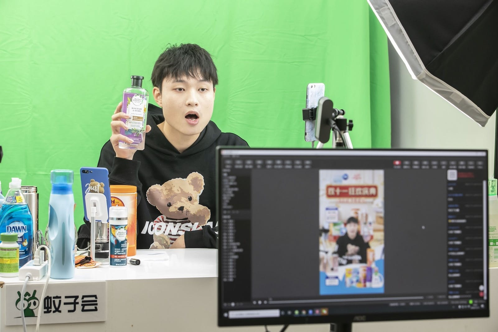 A livestreamer promotes personal hygiene products during Alibaba's annual shopping event on November, 11, 2020. More U.S. tech companies are testing live shopping.
