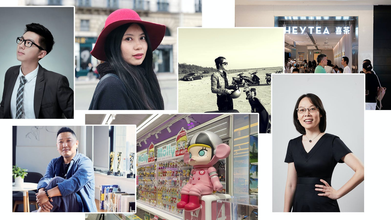 Clockwise from top-left: Moody CEO,  Ci Ran; PMPM co-founder Wen Tzu; PMPM co-founder Shan Shuo; customers at a HEYTEA store in Chongqing, China (AP); Ubras founder and CEO, Tou Yaqian; a Pop Mart store in Shanghai (AP); Chicecream CEO, Lin Sheng.
