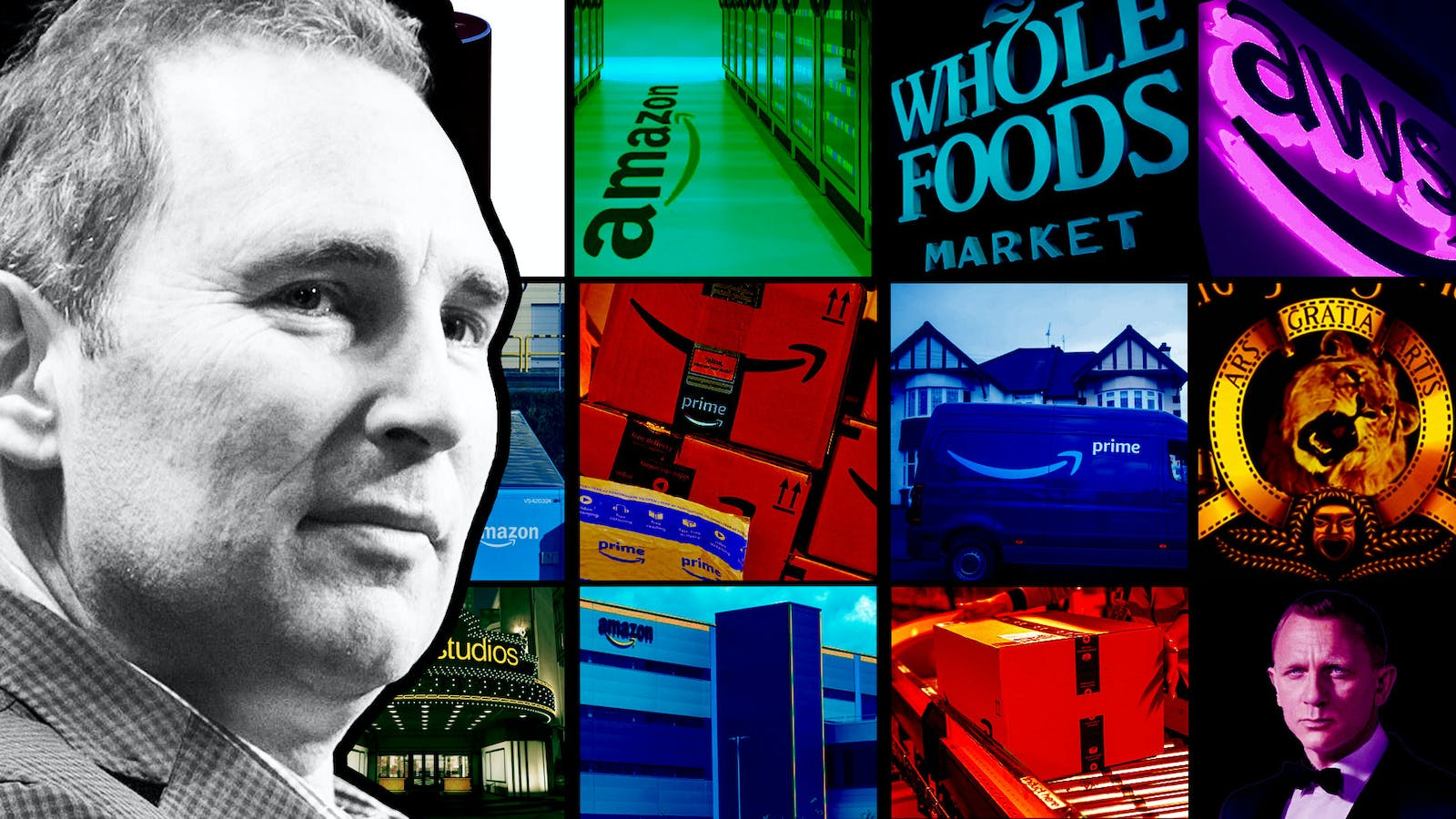 Incoming Amazon CEO Andy Jassy. Photos by Bloomberg. Art by Mike Sullivan.