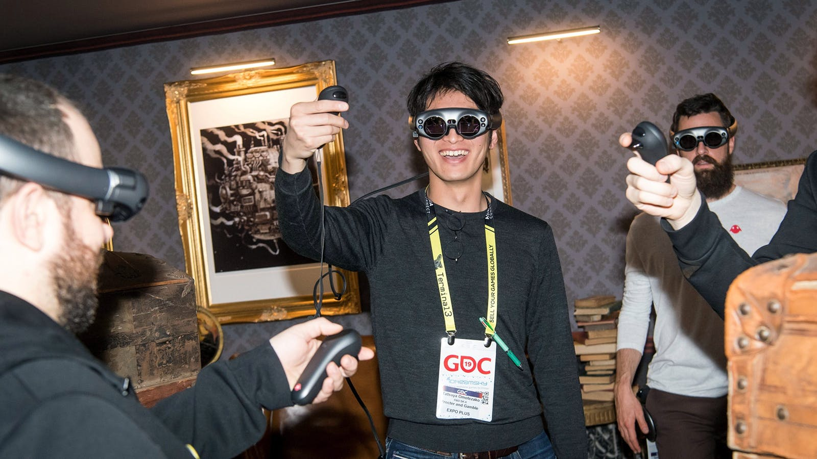 People wearing Magic Leap's first headset at a conference in 2019. Photo by Bloomberg
