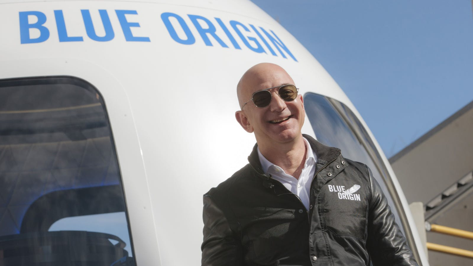 Jeff Bezos at a Blue Origin event in 2017. Photo by Bloomberg