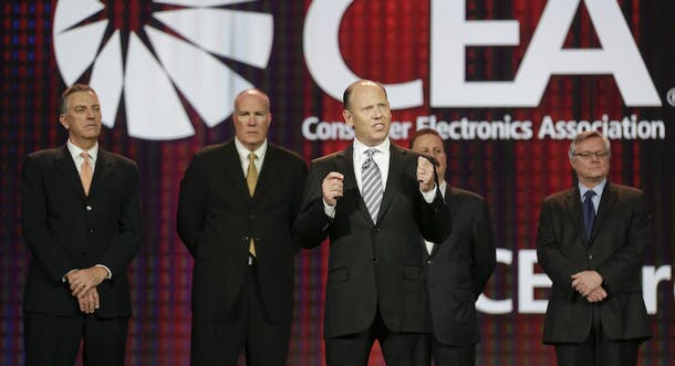 Warner Bros. executive Ron Sanders at CES in 2013 when UltraViolet was announced. Photo by AP.
