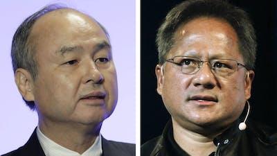 SoftBank CEO Masayoshi Son, left, and Nvidia CEO Jensen Huang. Photos by Bloomberg; AP