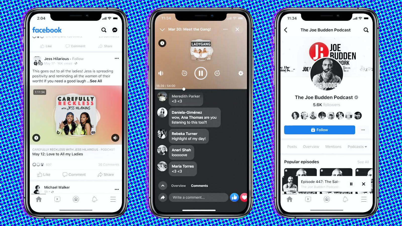 Views of Facebook's new podcast product. Photos courtesy of Facebook.