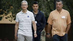 Apple CEO Tim Cook and executive Eddy Cue during the 2019 Allen & Co conference in Sun Valley. Photo by Bloomberg.