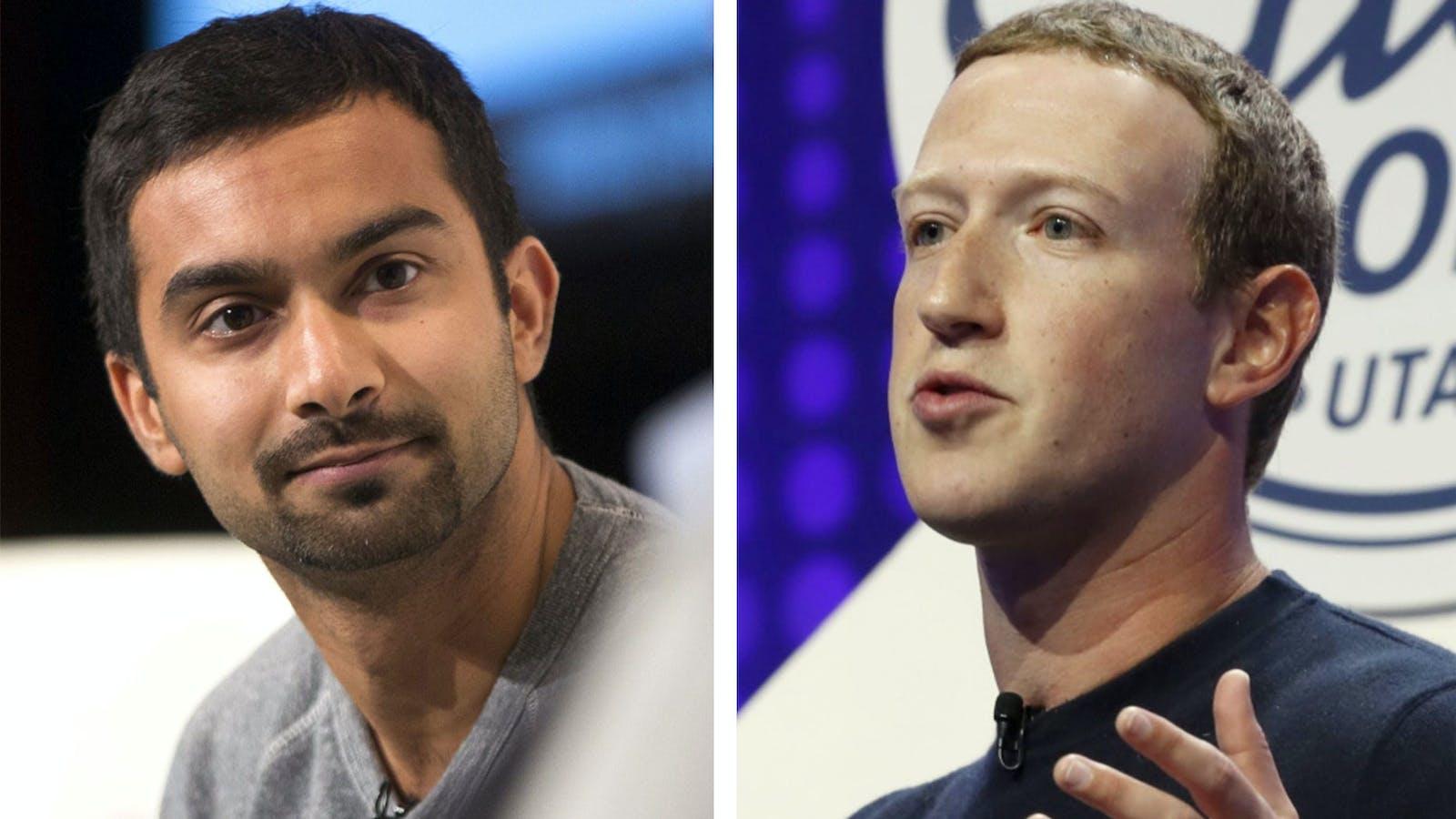 Instacart CEO Apoorva Mehta, left, and Facebook CEO Mark Zuckerberg. Photos by Bloomberg
