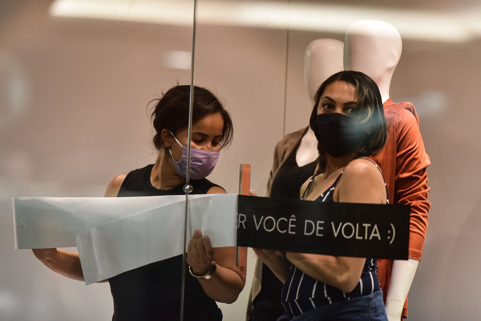 Workers at a store in Brazil, in May 2020. With more shoppers at home, online e-commerce surged in Brazil and elsewhere in Latin America last year. Photo: Bloomberg