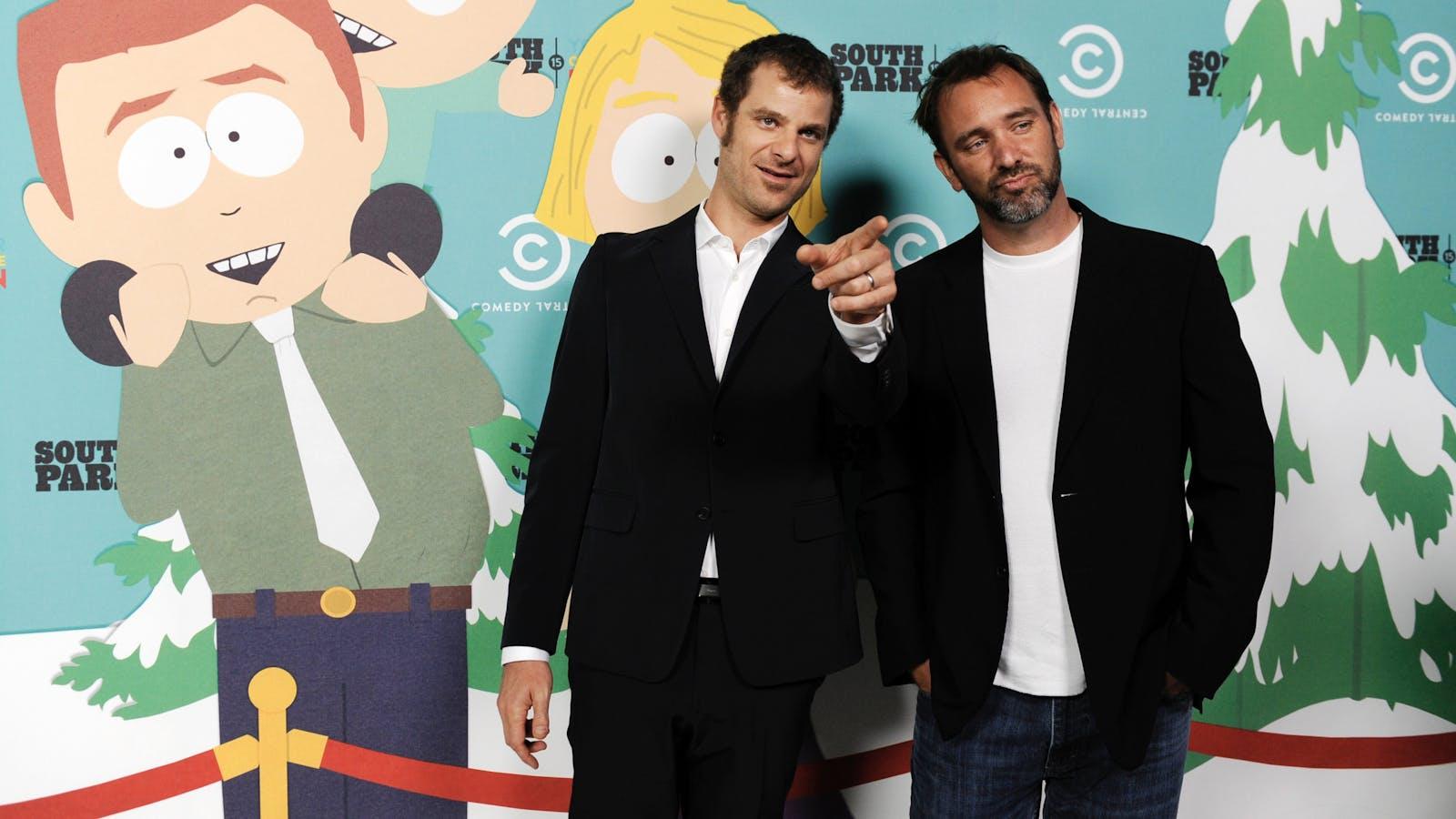 South Park's creators, Matt Stone and Trey Parker. Photo by AP