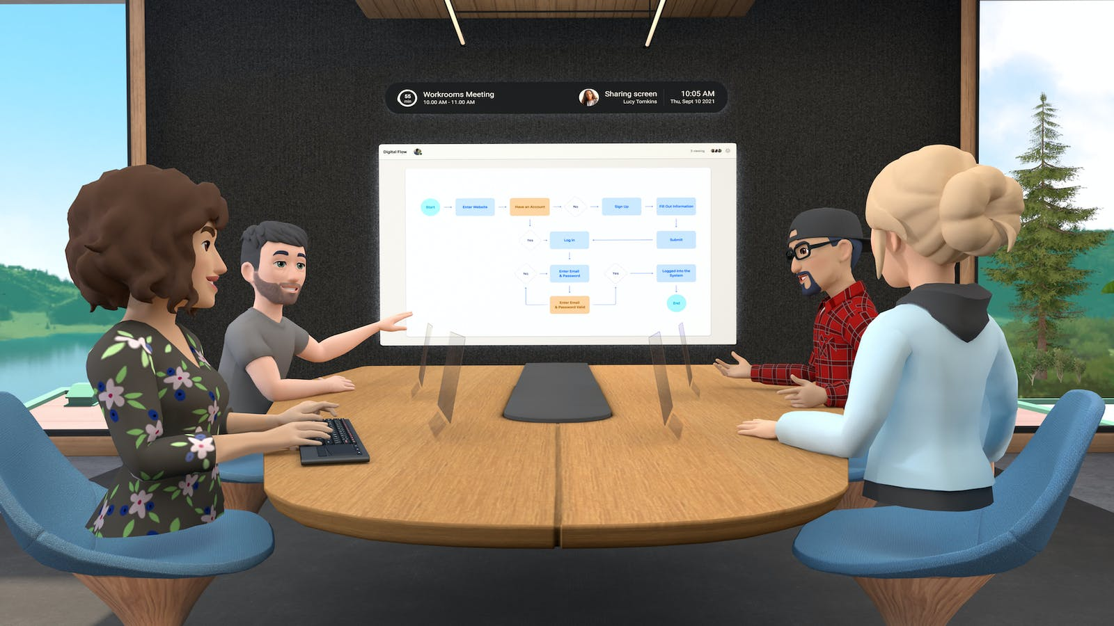 Avatars holding a meeting in Horizon Workrooms. Credit: Facebook