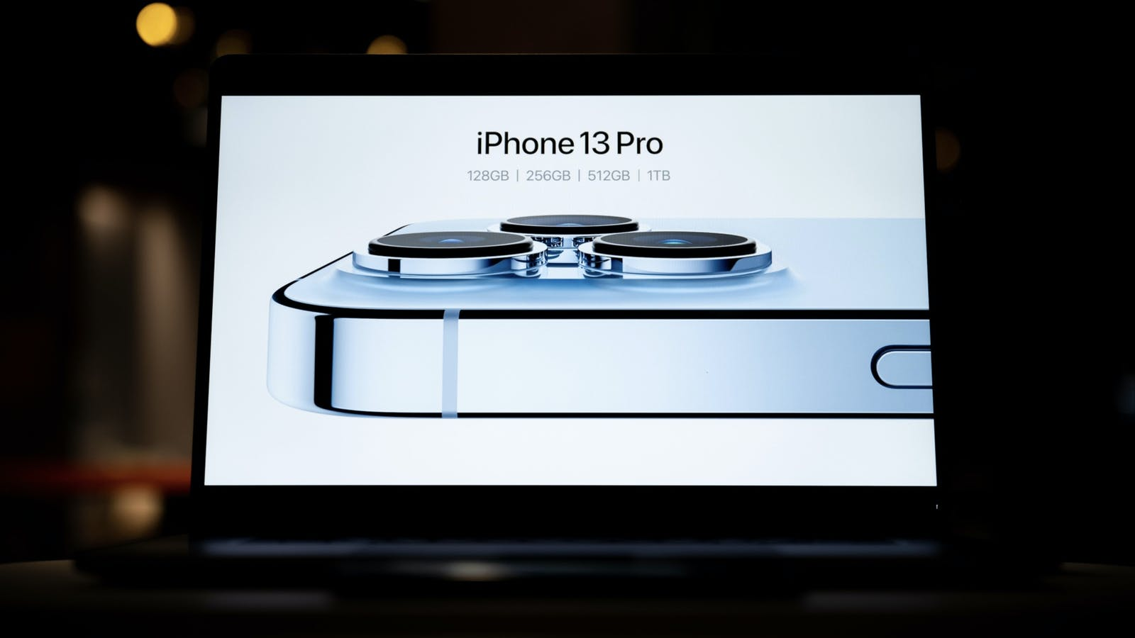 An image from Apple's streamed presentation today. Photo by Bloomberg