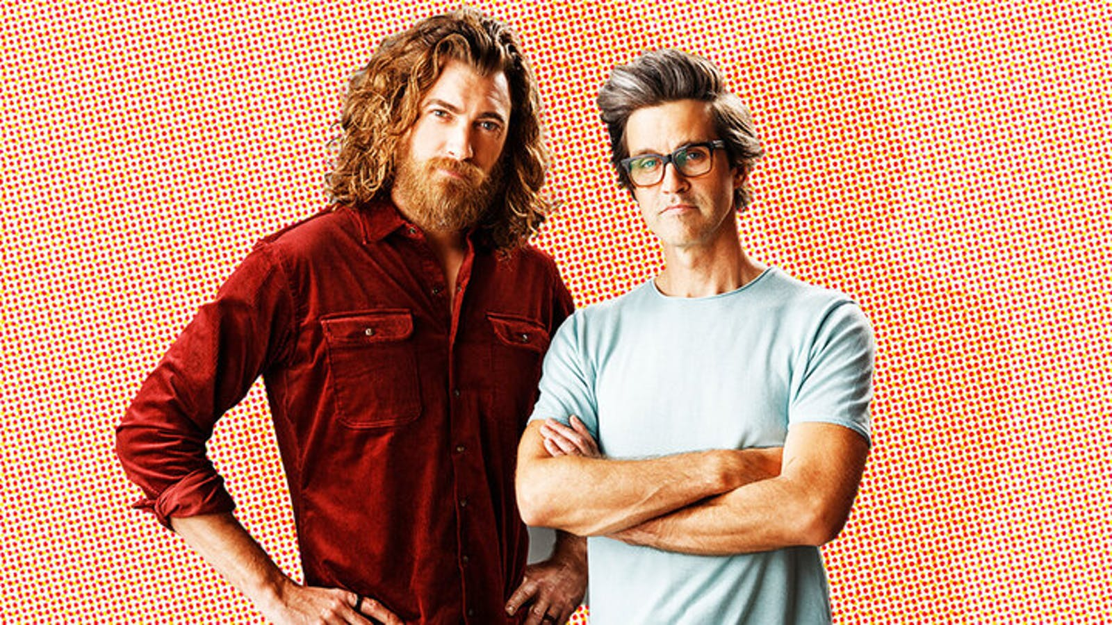 Rhett McLaughlin and Link Neal. Photo: Mythical Entertainment Illustration: Mike Sullivan