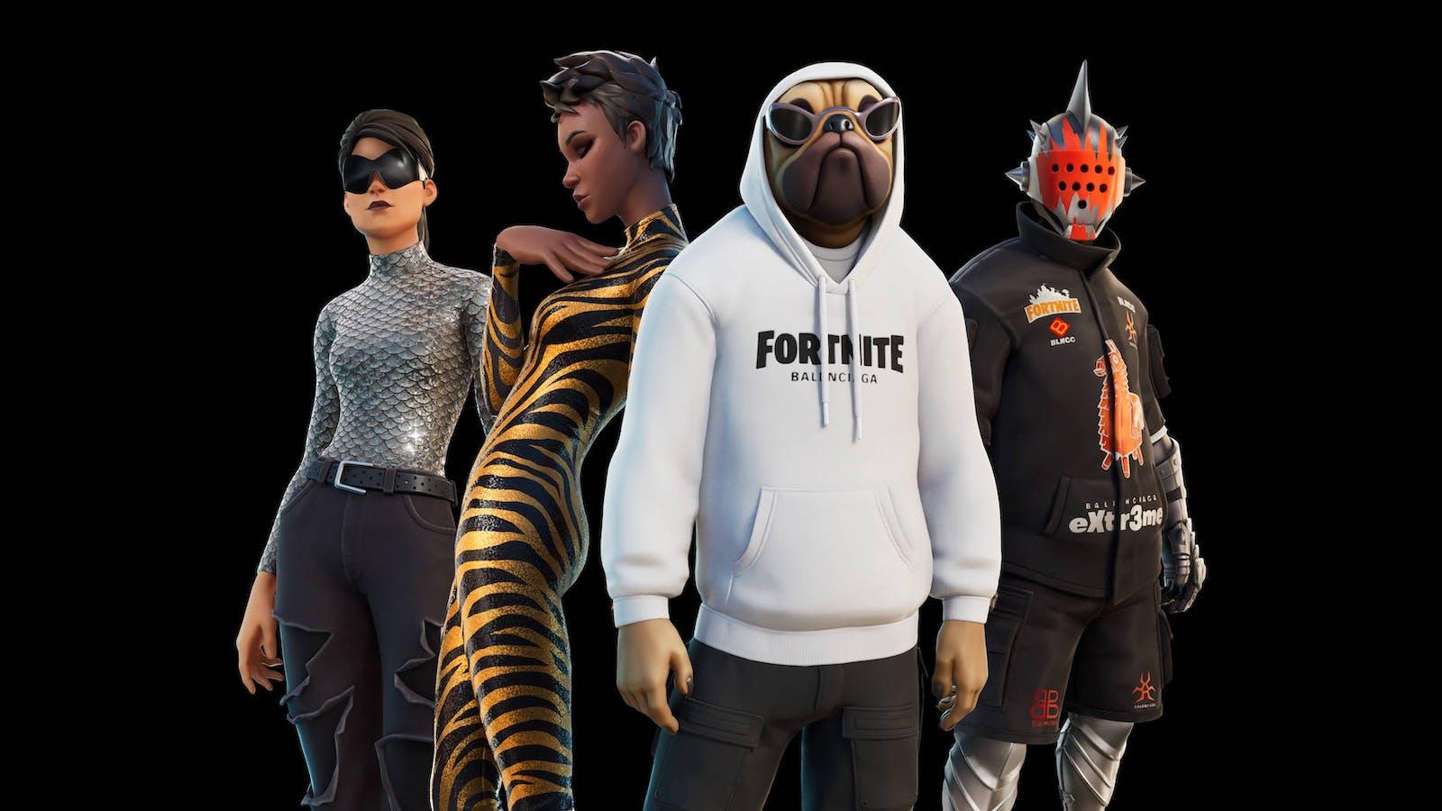 Fortnite characters sporting Balenciaga outfits, a recent metaverse-forward partnership. Credit: Epic Games