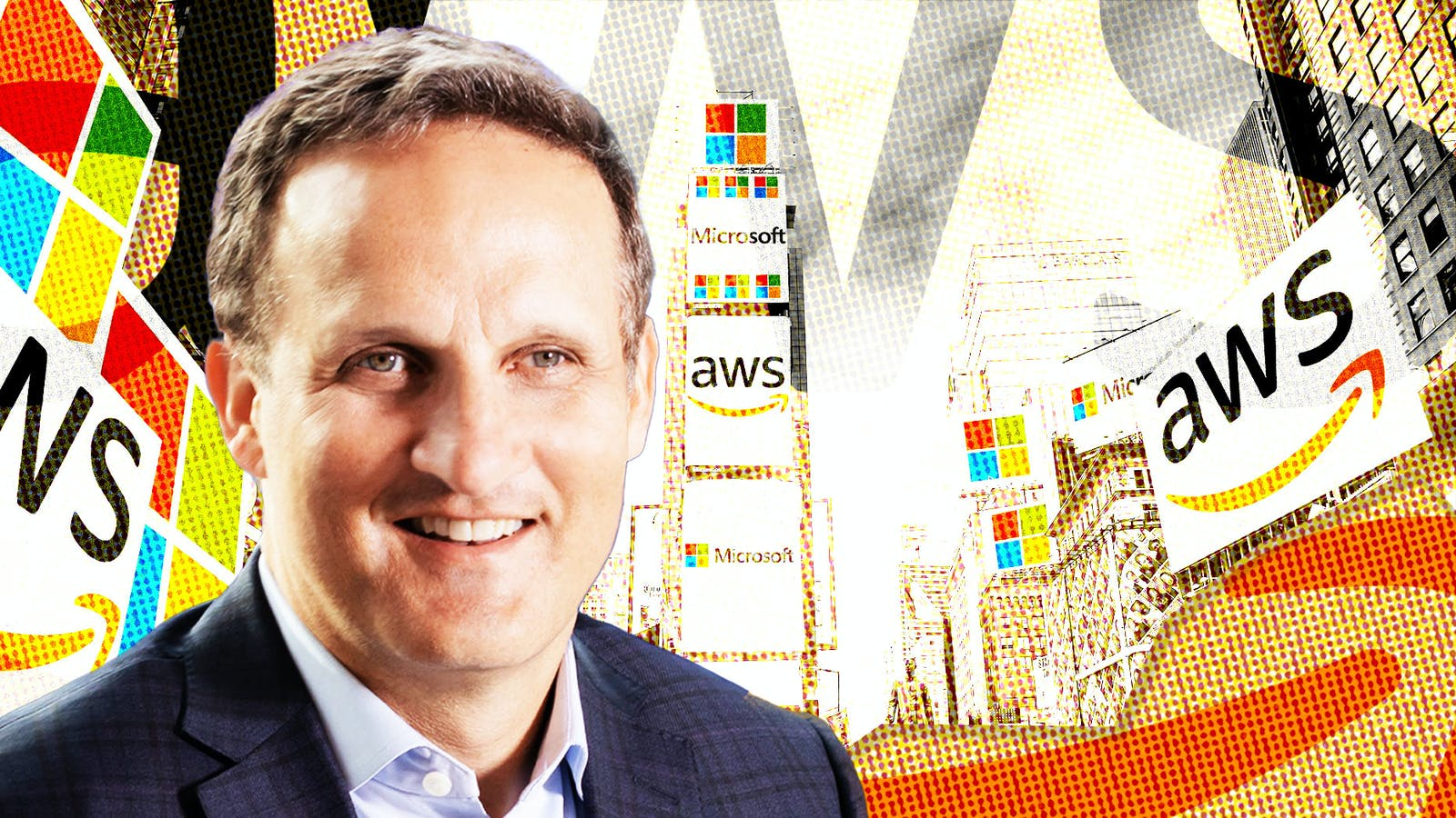 Photo of AWS CEO Adam Selipsky by Amazon. Illustration by Mike Sullivan