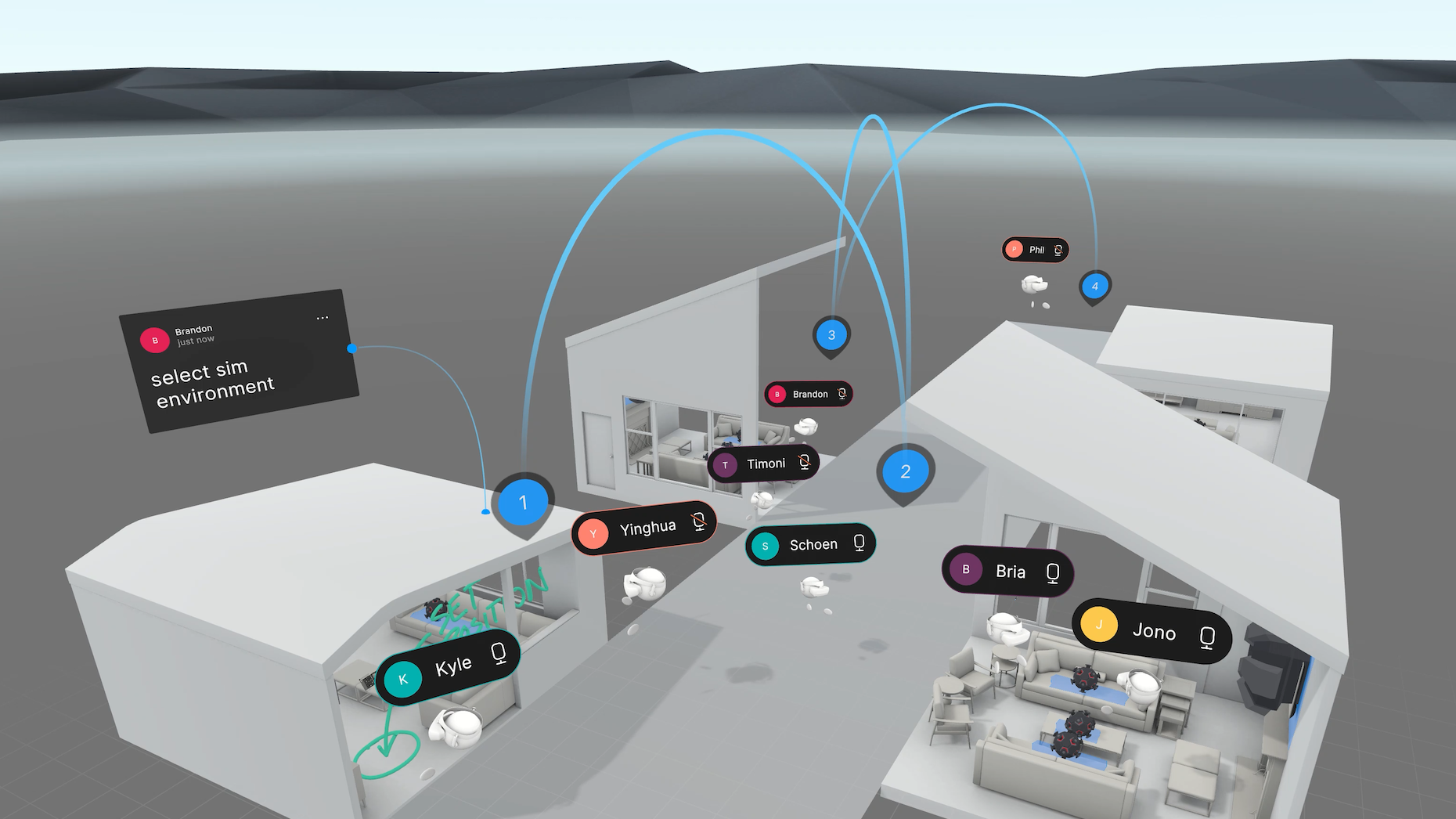 A VR design meeting in Project Hubble. Each room is a virtual testing space for AR apps. Credit: Unity