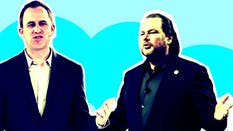 Salesforce's Bret Taylor (left) and Marc Benioff. Photos by Bloomberg. Art by Mike Sullivan