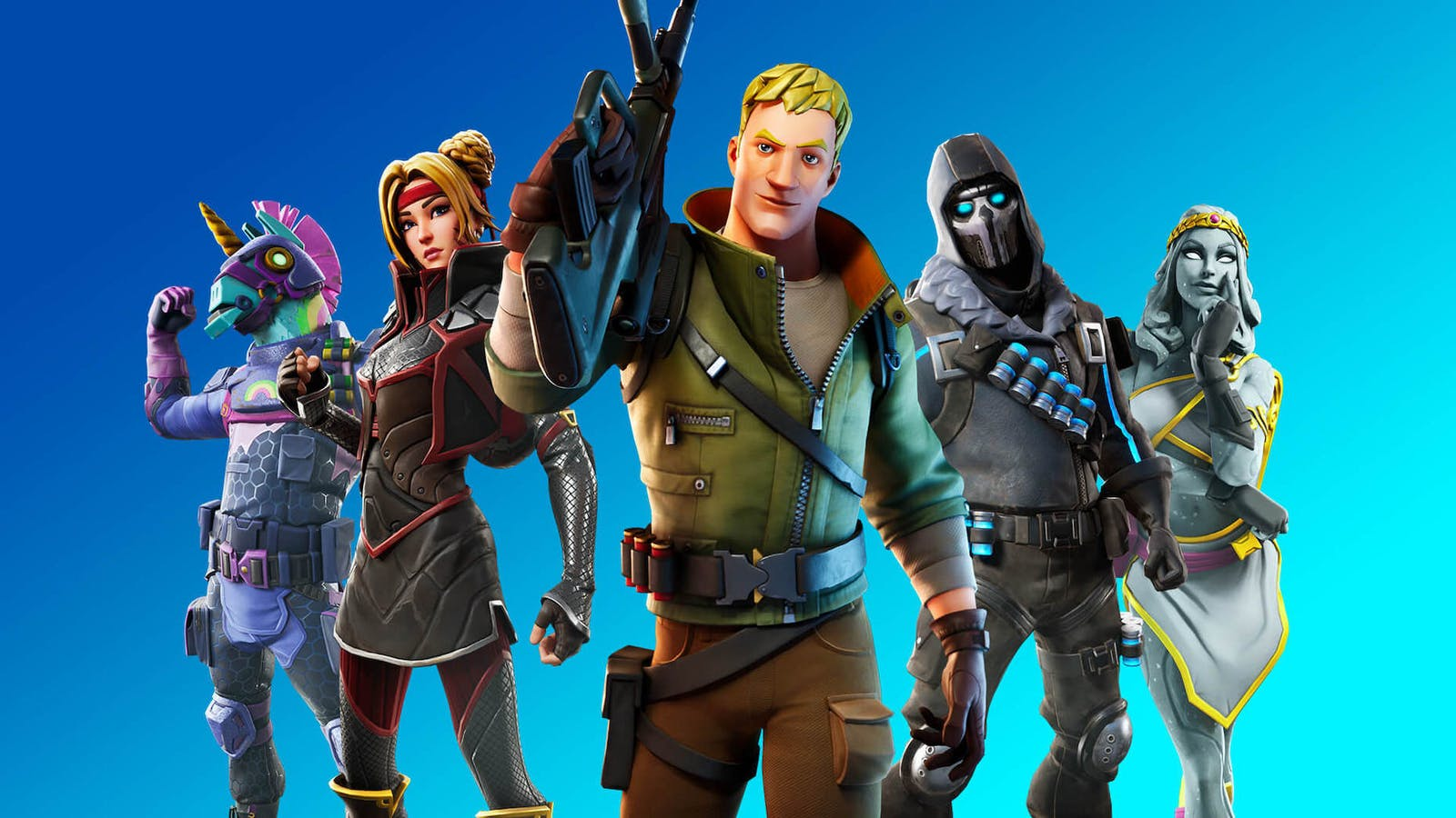 A lineup of Fortnite characters. Credit: Epic Games