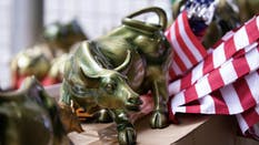 A bull statue for sale outside the New York Stock Exchange last month. Photo by Bloomberg.
