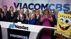 ViacomCBS executives, and SpongeBob, celebrate the merger of Viacom and CBS in 2019. Photo by Bloomberg.