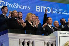 ProShares executives at the New York Stock Exchange before the launch of the country's first exchange-traded fund linked to bitcoin. Photo: AP