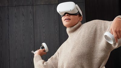 A promotional image for the Oculus Quest 2 VR headset. Credit: Facebook
