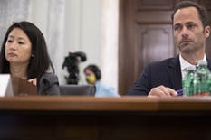Jennifer Stout, vice president of global public policy at Snap, and Michael Beckerman, Americas vice president and head of public policy at TikTok, in a Senate hearing Tuesday.